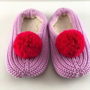 Women's Purple/Red Pull on Slippers Socks